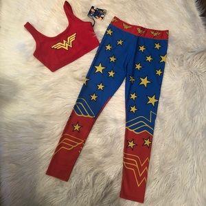 Wonder women crop top leggings set